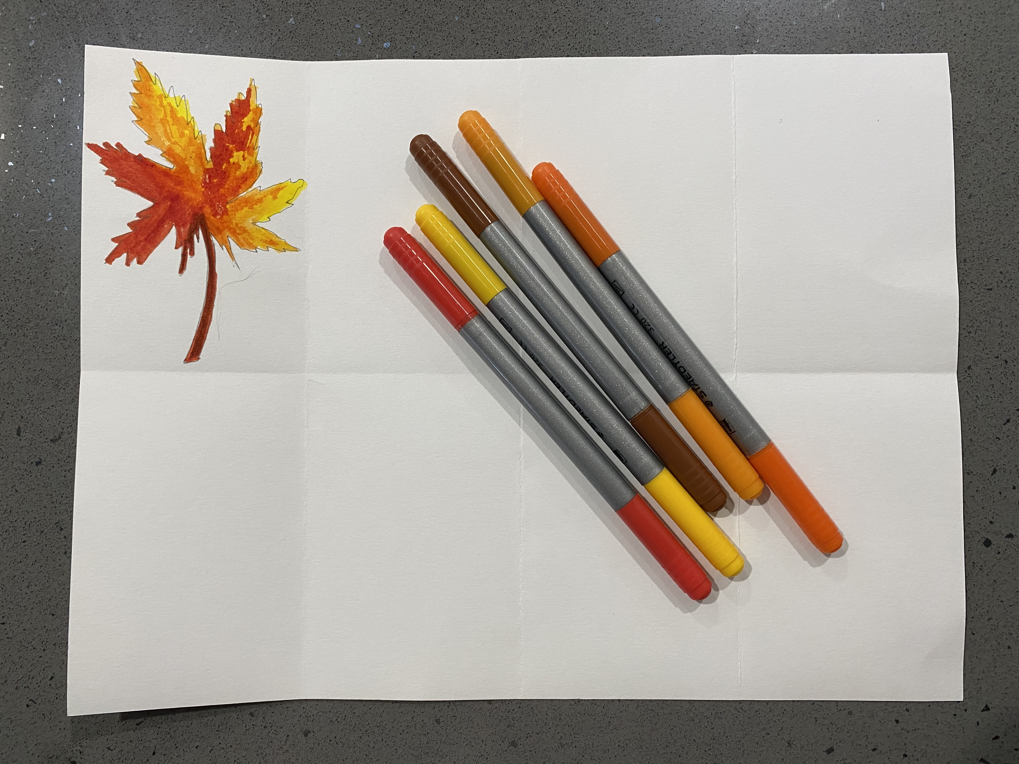 Now you can color in your leaves with markers, crayons, or colored pencils.