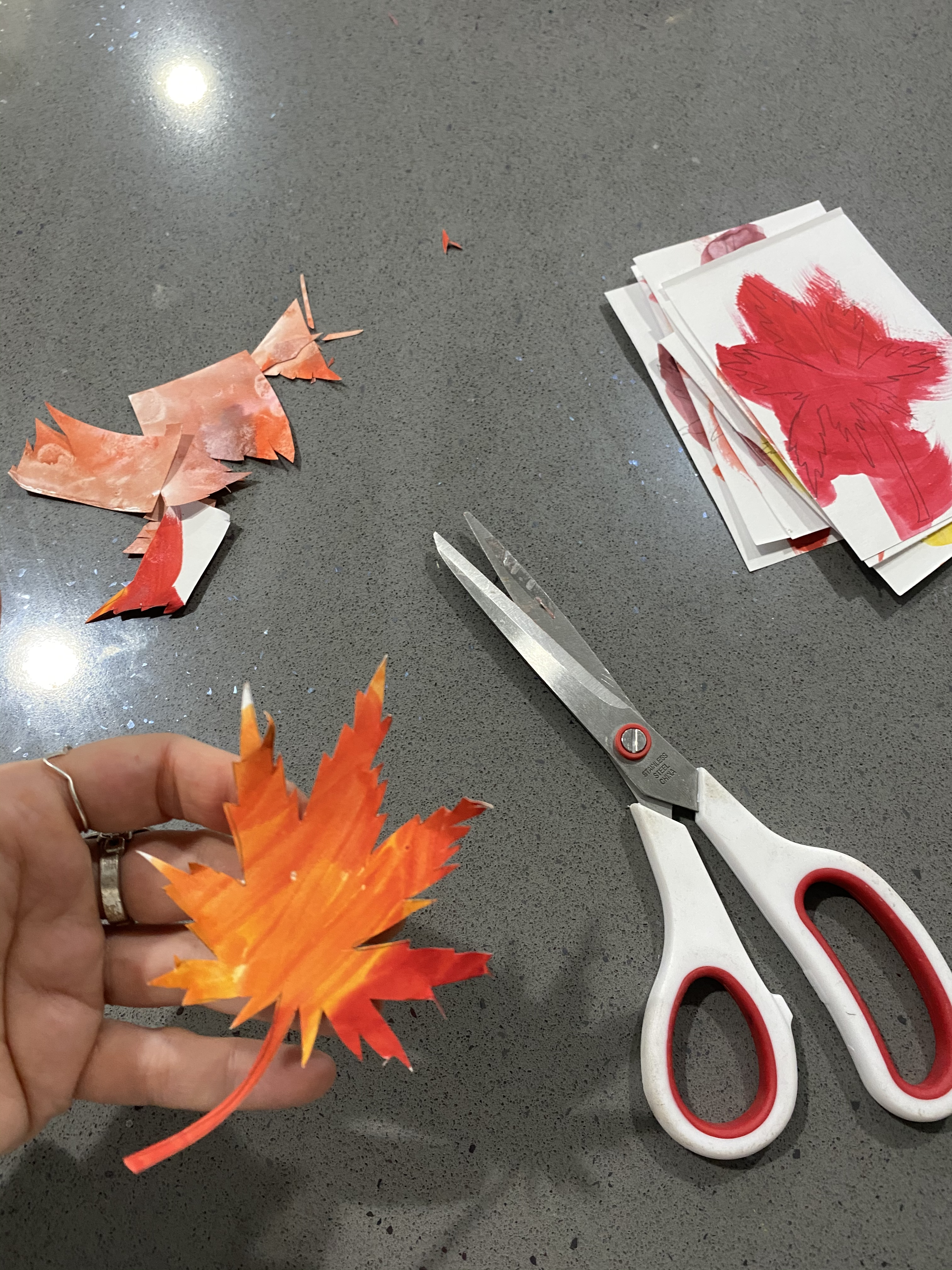 cut out each leaf with scissors.