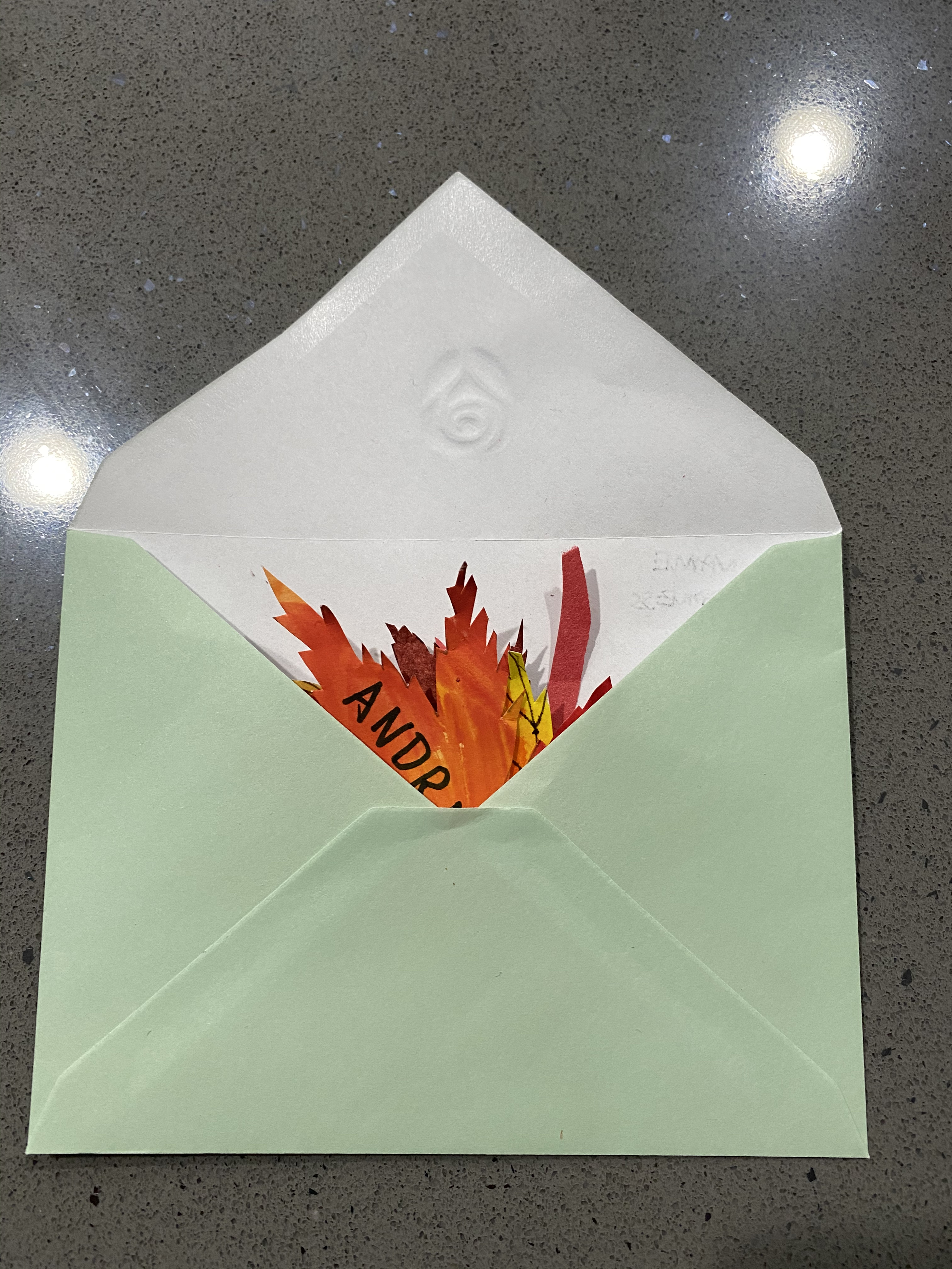 The final step: put your leaves in an envelope,